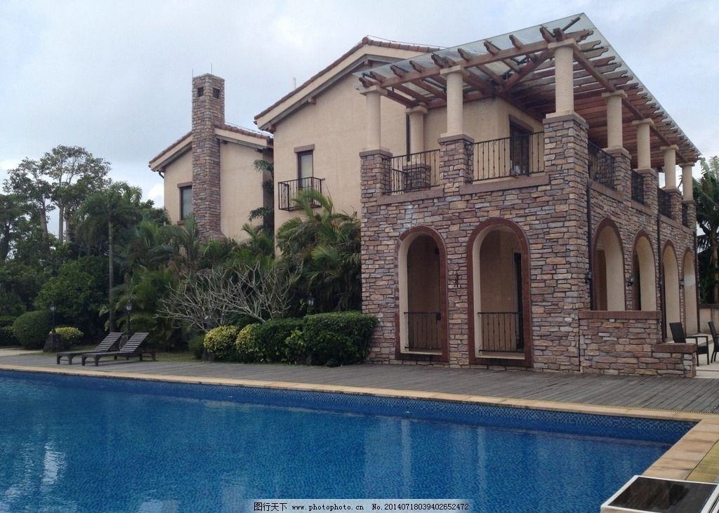 独栋别墅 游泳池 法式风格 高档别墅 建筑摄影 建筑园林图片