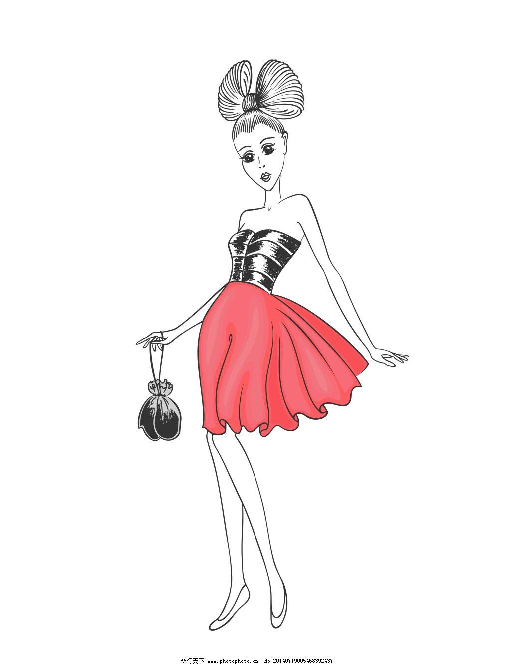 手绘 手绘 时尚 创意 裙子