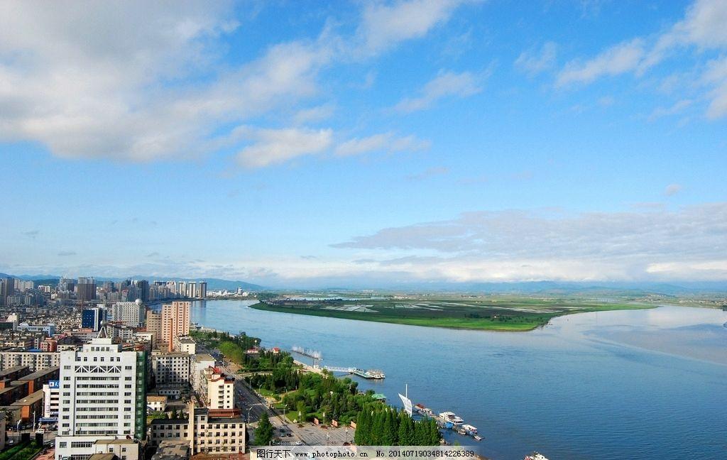 鸭绿江 丹东 朝鲜 旅游 江城 自然风景 自然景观 摄影 300dpi jpg