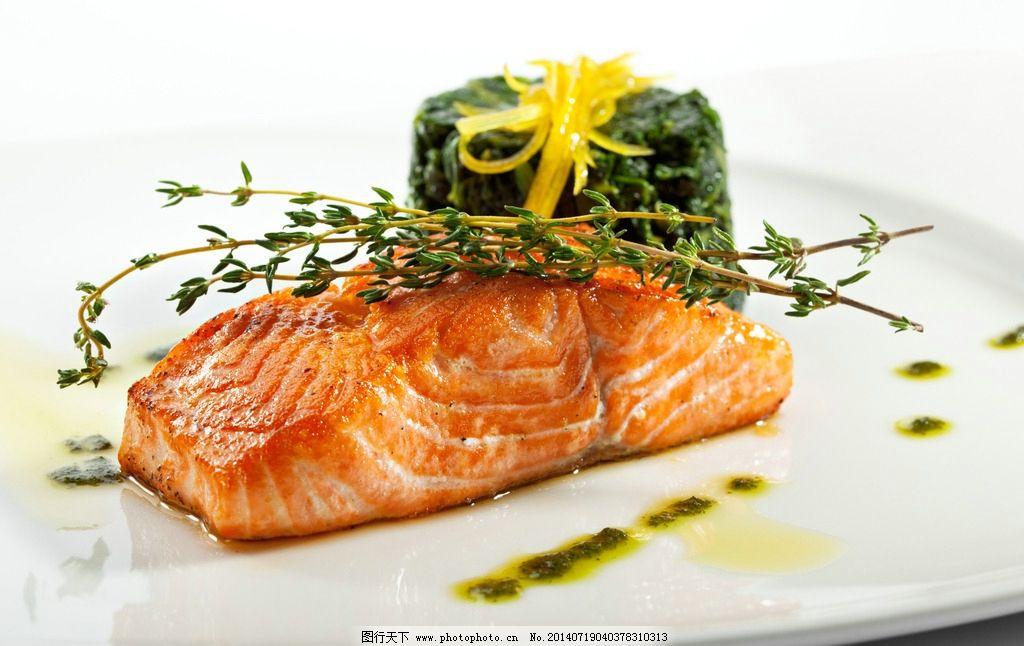 烤鱼 烤肉 烤美食 三文鱼 靠鱼肉 鱼肉美食 西餐 生菜 蔬菜