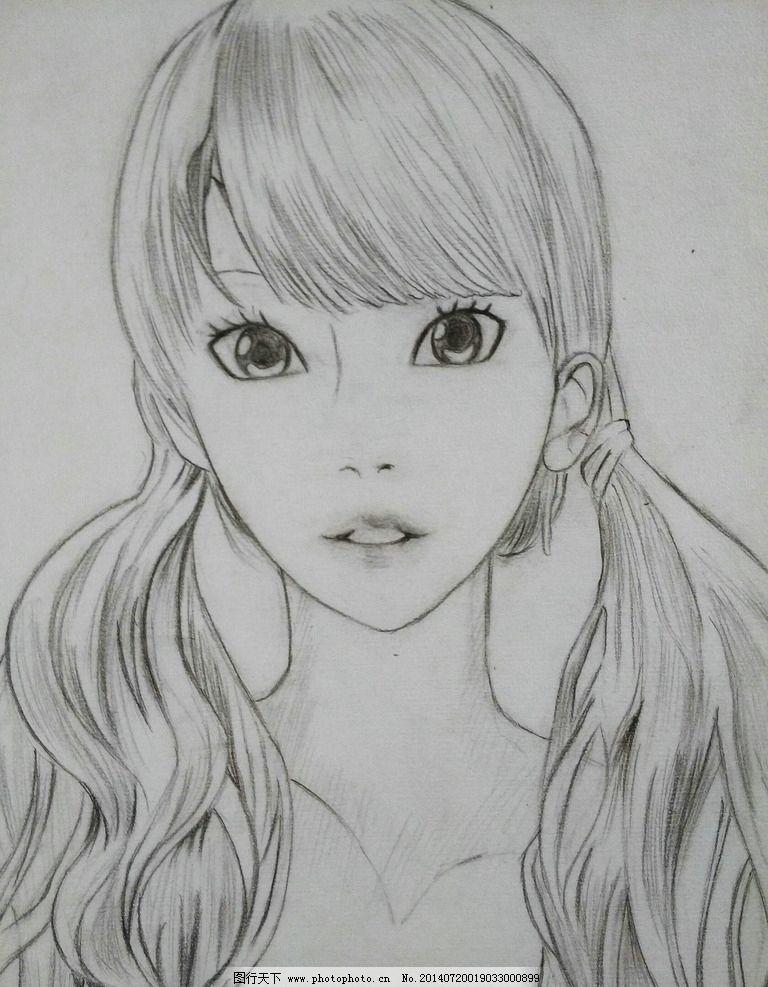 大眼女孩 小清晰 铅笔画 速写 女孩 长发 绘画作品 绘画书法 文化艺术图片