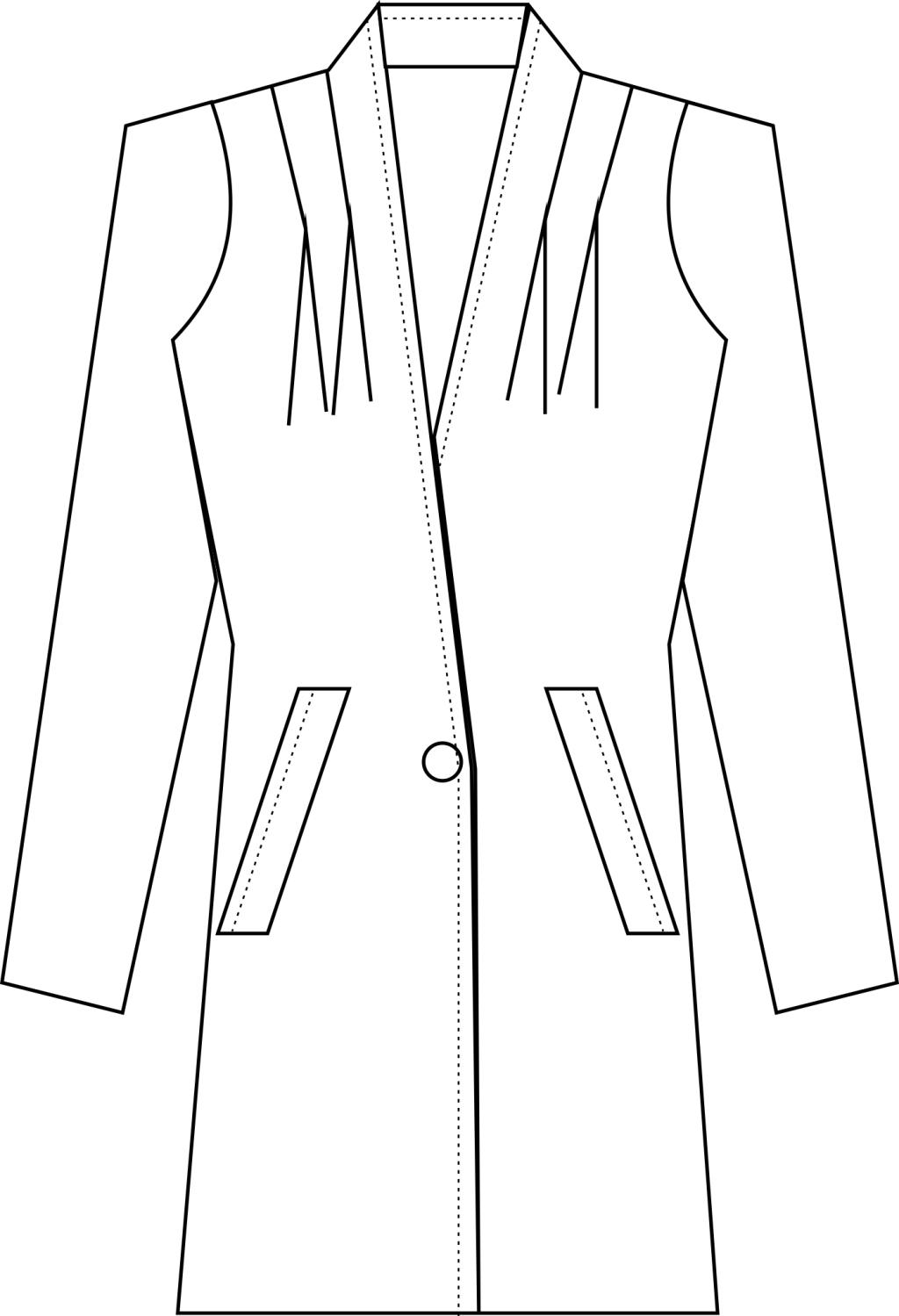 时装 插肩袖中大衣款式图