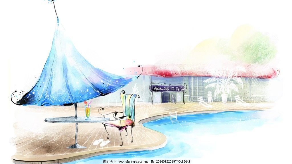 绘画书法 蓝色 色彩缤纷 手绘图 水彩画 水粉画 水彩画 手绘图 游泳池