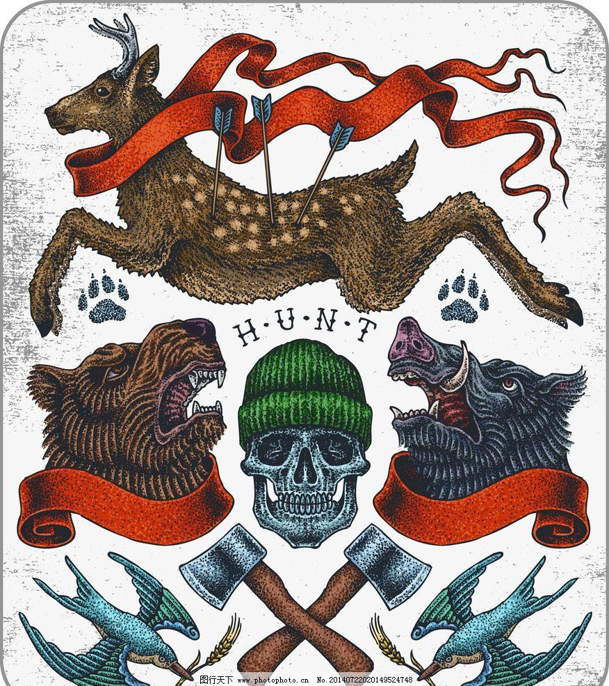 t恤设计纹身图案 梅花鹿 动物 服装设计 欧美花纹 欧式花纹 哥特风格