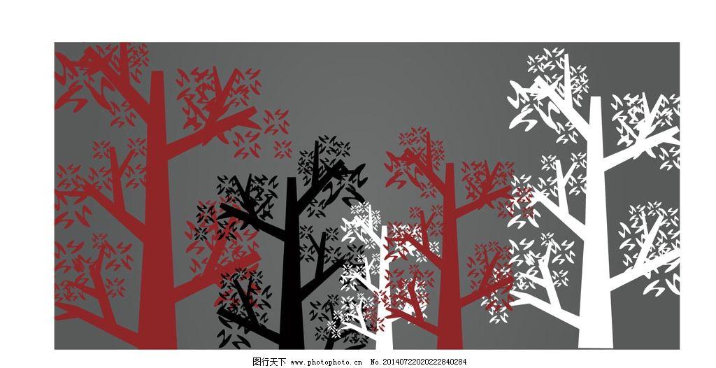 抽象树枝 抽象装饰纹样 抽象树木背景 红黑白树木 红黑白森林 设计 背