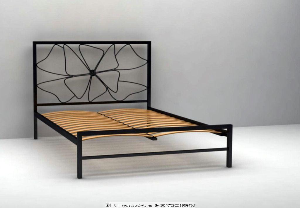 花语芳菲 花朵 黑色 方管 铁床 3d模型 室内装修效果图 3d作品 3d设计