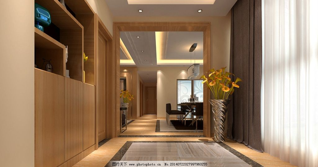 室内设计        玄关效果图 鞋柜 门套 入户地面造型 地面拼花 环境
