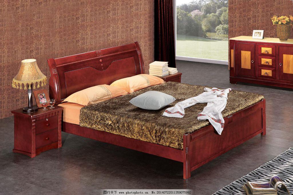 红实木床 红实木床背景 红实木床免费下载 床头柜 家居装饰素材 室内