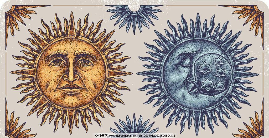 t恤设计纹身图案 太阳 月亮 t恤设计 t恤花纹 服装设计 t恤 t恤样式