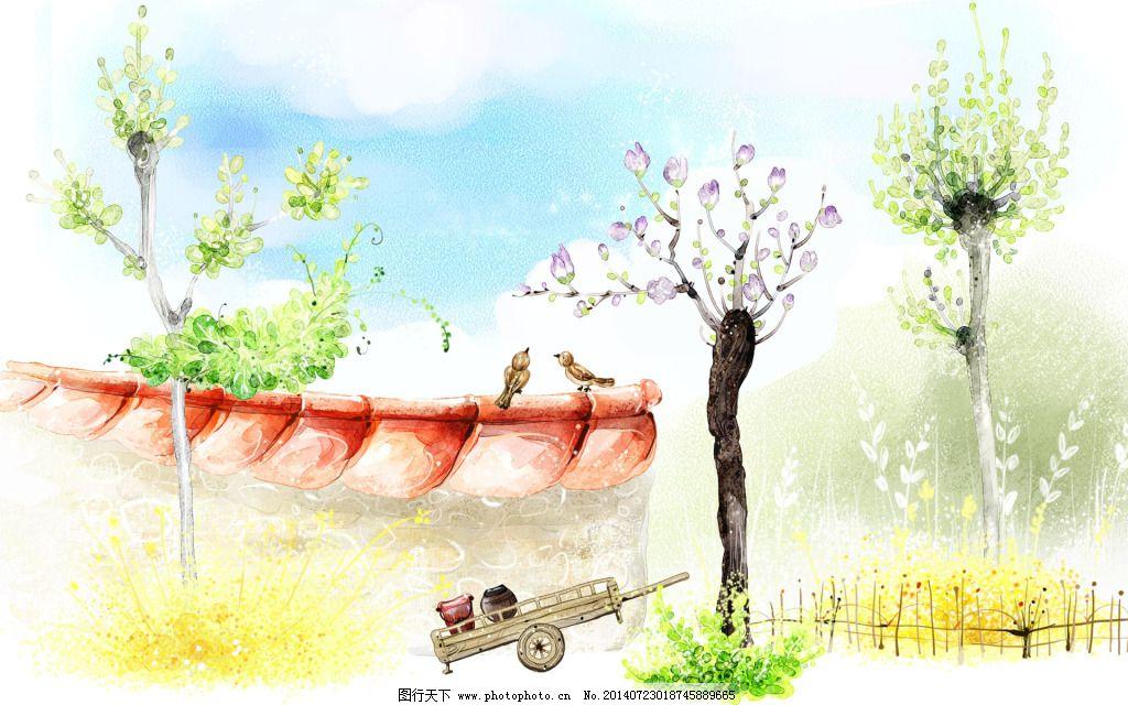 卡通树木墙免费下载 儿童素材 卡通 梦幻景色 水墨画 油画 卡通 梦幻