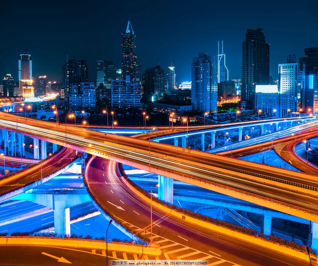 上海高架路立交桥夜景