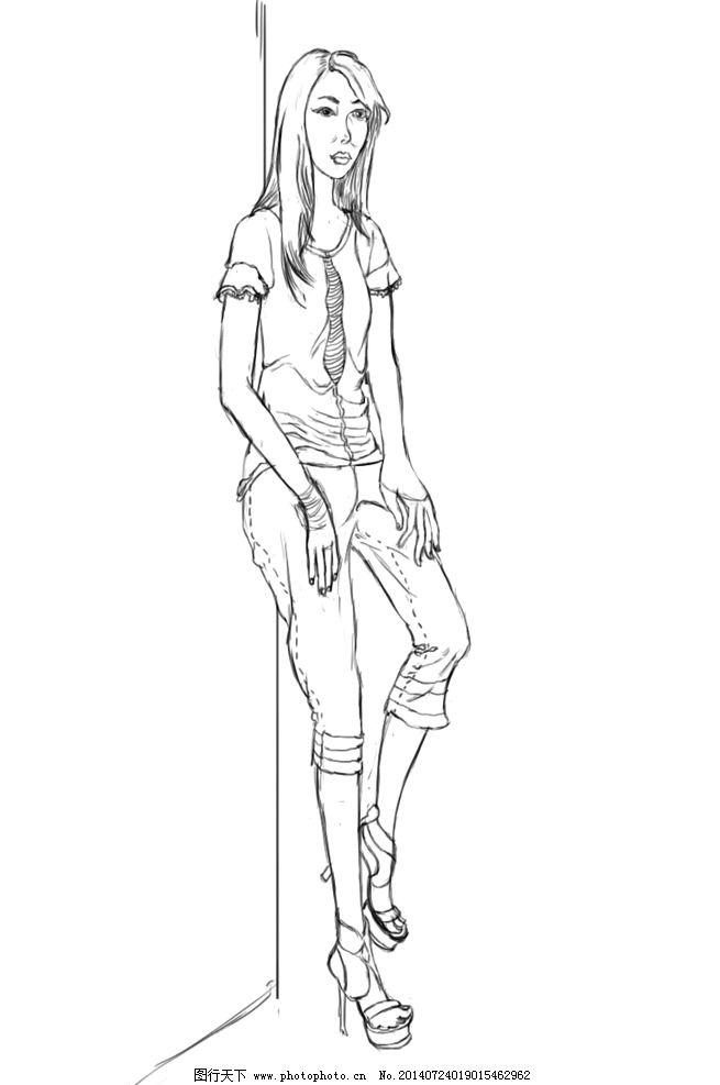 人物线稿 时装设计 性感美女 高尚 大气 绘画书法 文化艺术