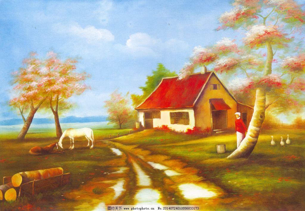 房屋 油画 手绘