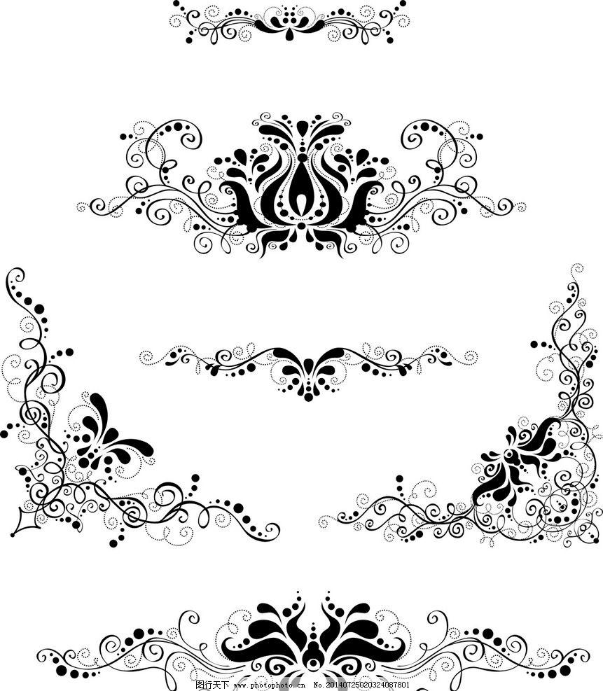 欧式黑白图案花纹图片