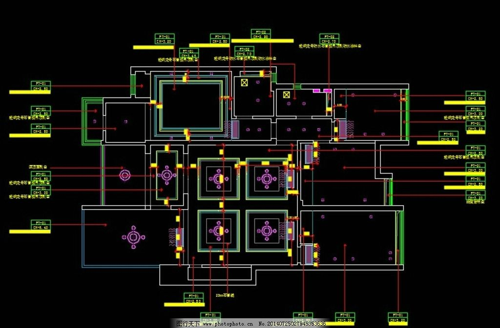 别墅全套施工图 建筑建设 室内装修 水电灯具 天花吊顶 工艺制作