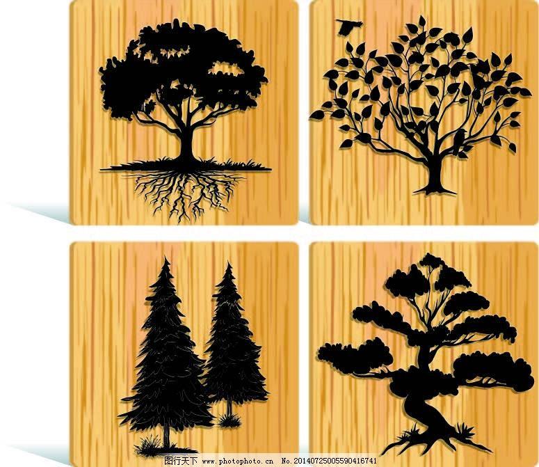一组木纹背景的树木剪影矢量素材