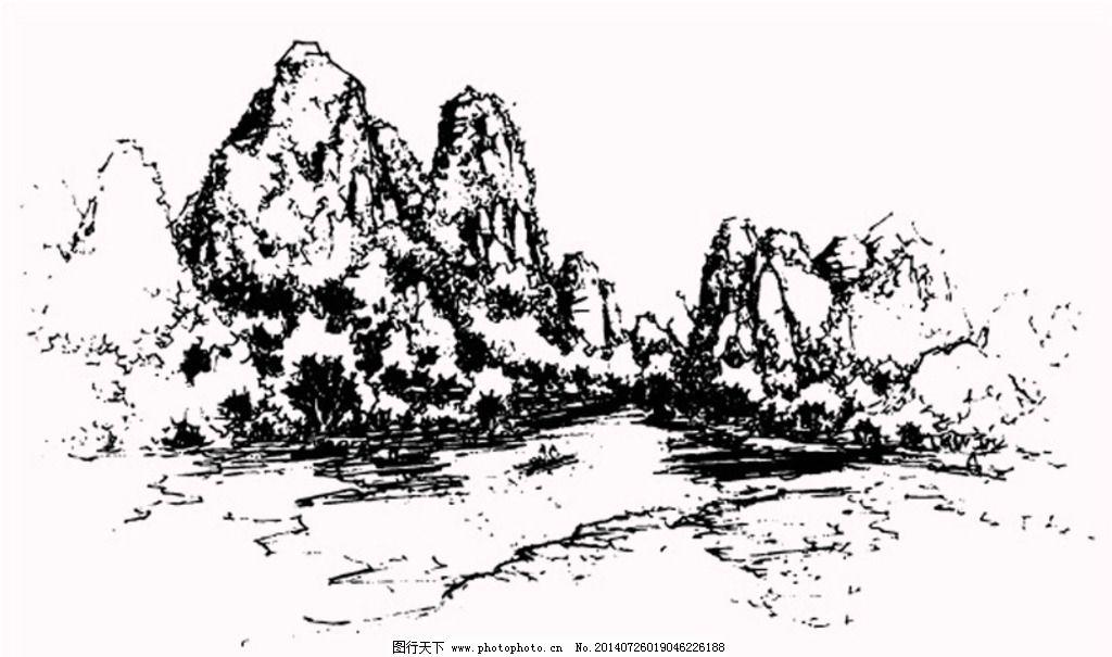 手绘素材抽象山水