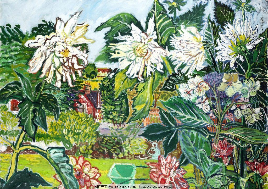花园油画 盛夏 盛开的花朵 树 草地 20世纪油画 油画 绘画书法 文化