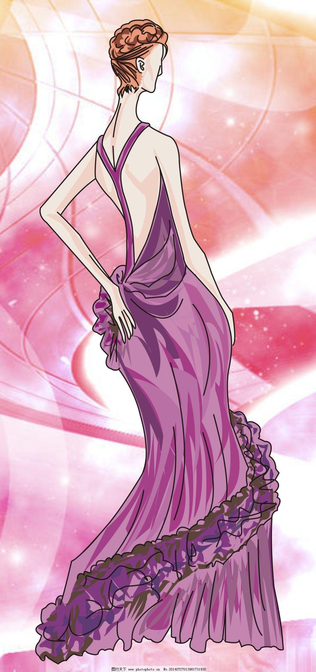 高贵晚礼服 高贵晚礼服免费下载 女装 时装 矢量女模特 服装款式图