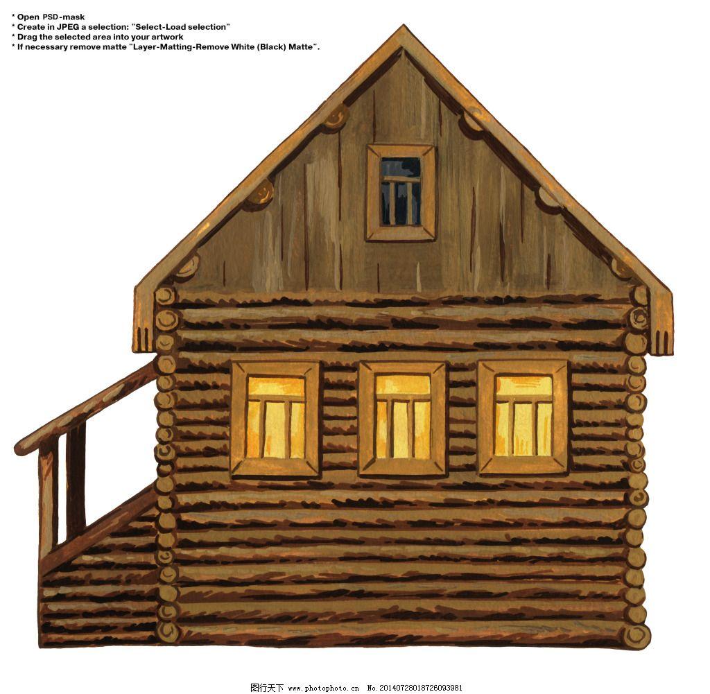 卡通小木屋图片
