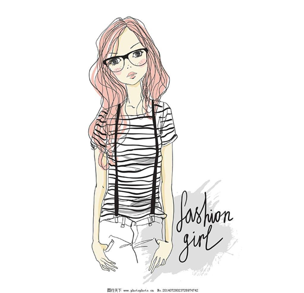 矢量手绘时尚女孩图片