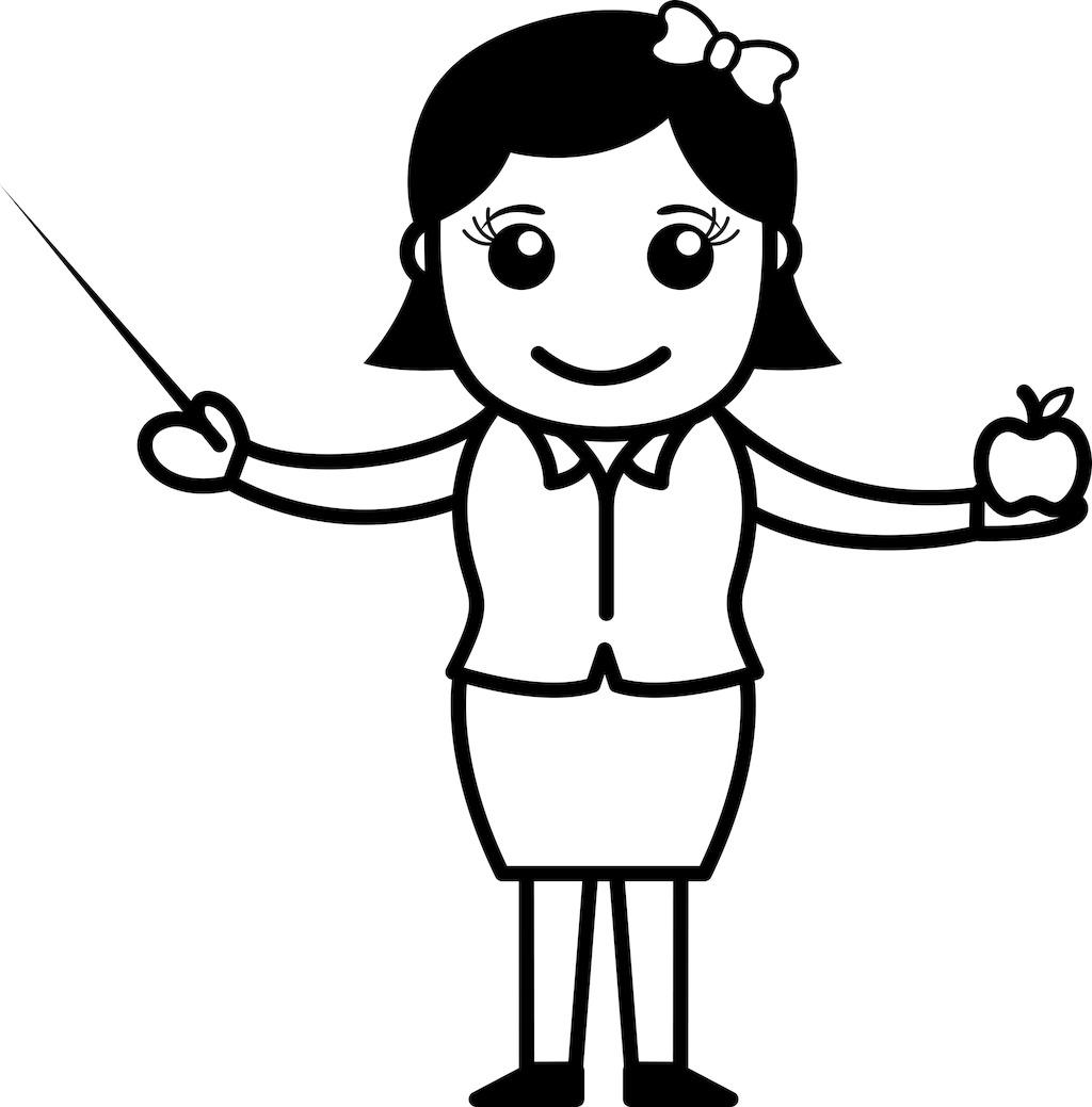 老师用棍子和苹果的卡通人物图片