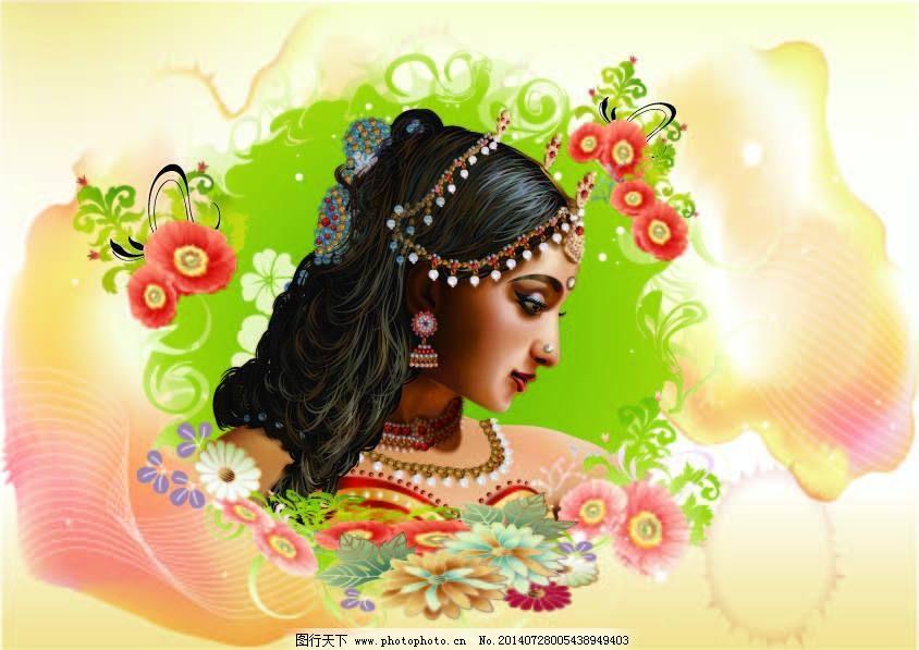 美女 手绘 印度 手绘