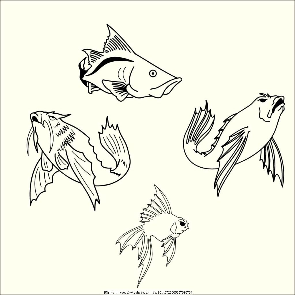 黑色 剪影 金鱼
