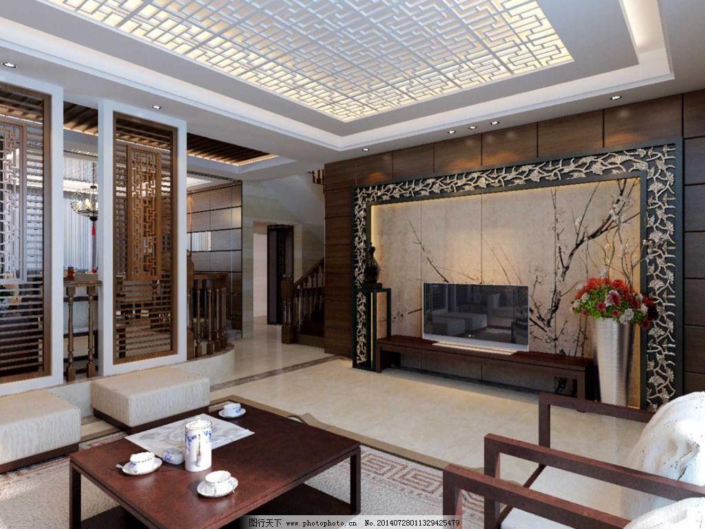 电视背景墙 电视背景墙免费下载 中式 中式设计 装修素材 家居装饰