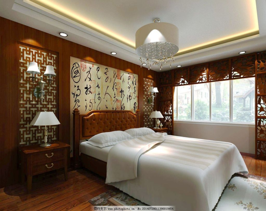 中式吊顶卧室 中式吊顶卧室免费下载 装修 家居装饰素材 室内设计图片