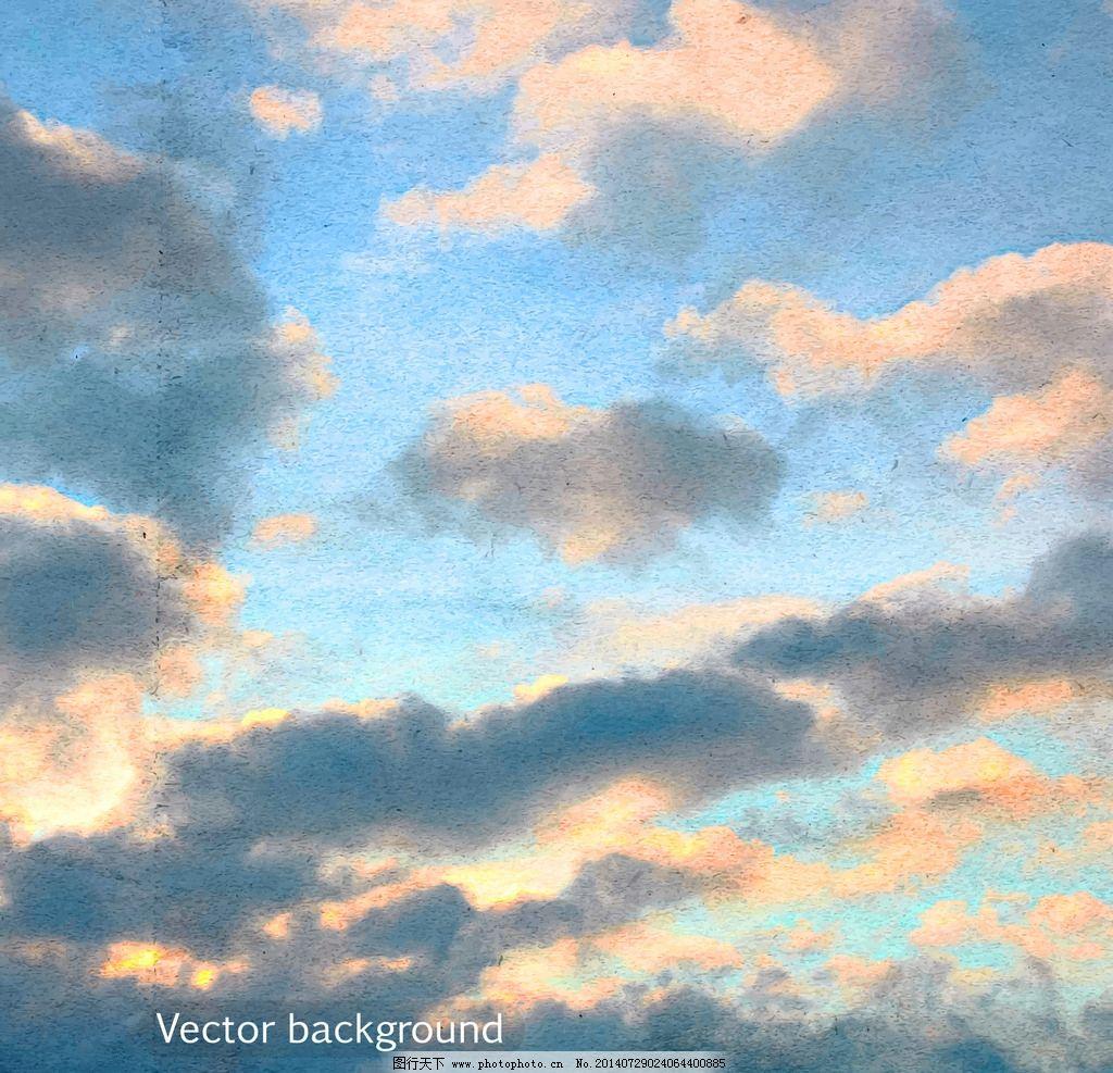 蓝天白云 天空 手绘 时尚 背景 蓝天 自然风光 白云 底纹背景 矢量