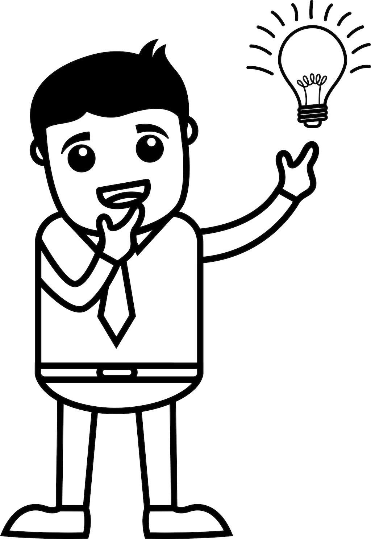 灯泡点亮的想法-商业卡通人物矢量图