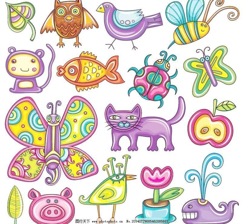 画卡通动物矢量素材