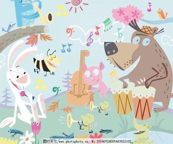 森林音乐会的卡通动物矢量素材