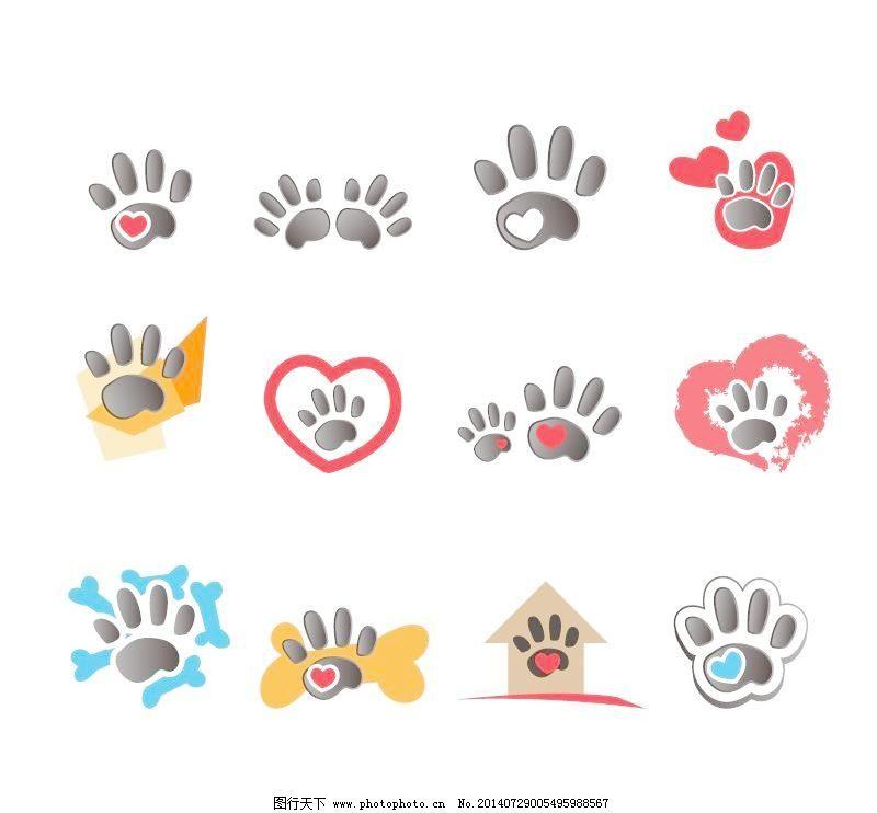动物的脚印标志设计矢量素材