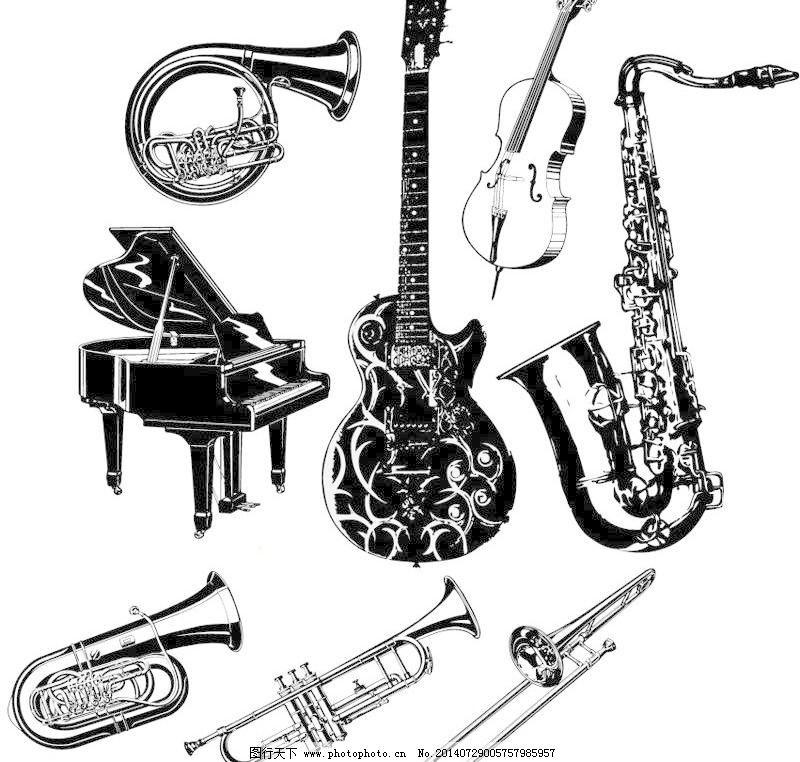 手绘乐器矢量素材