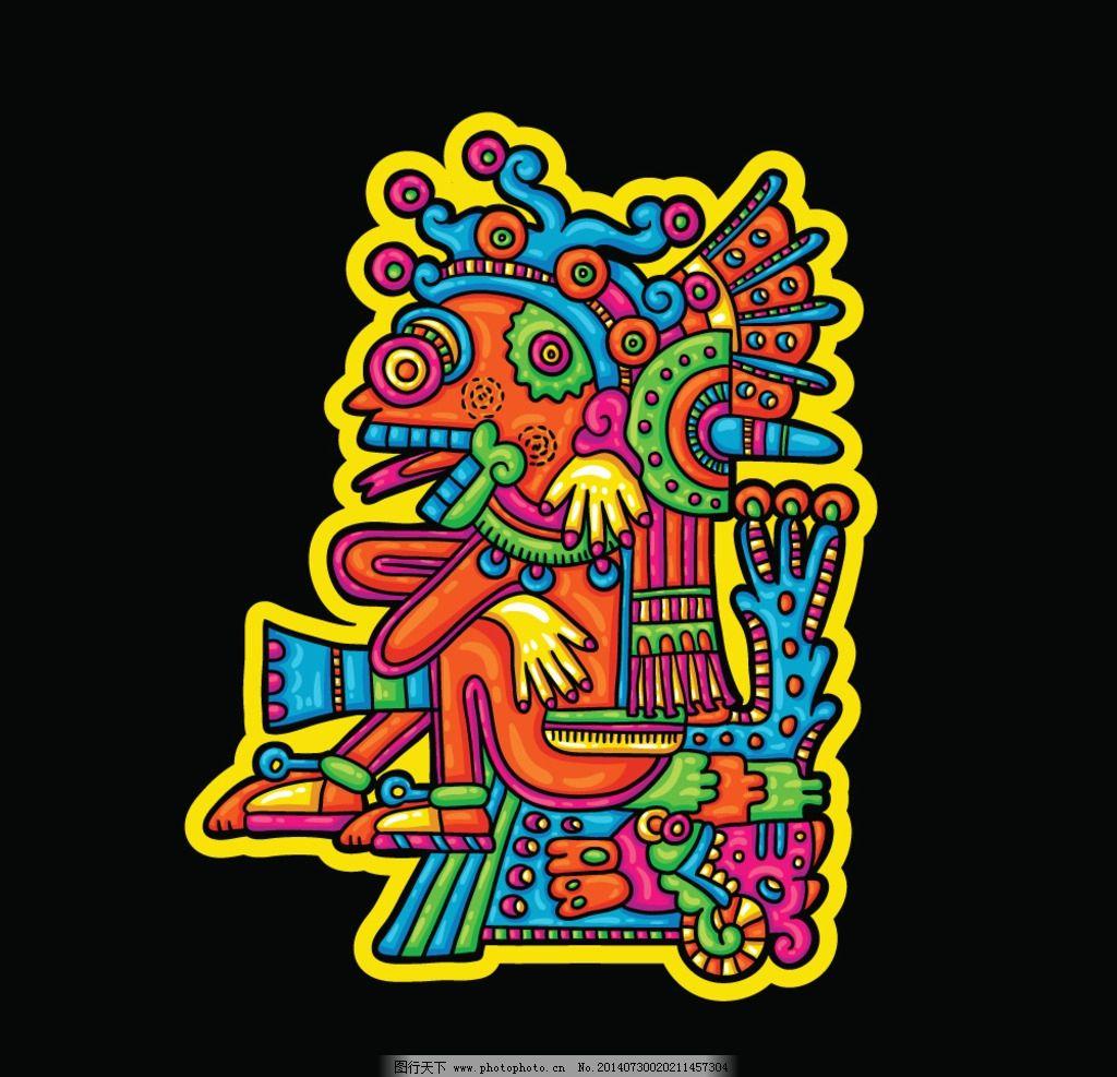 玛雅纹身 玛雅 古代 古老 手绘 图腾 考古图案 符号 图形 人物 动物