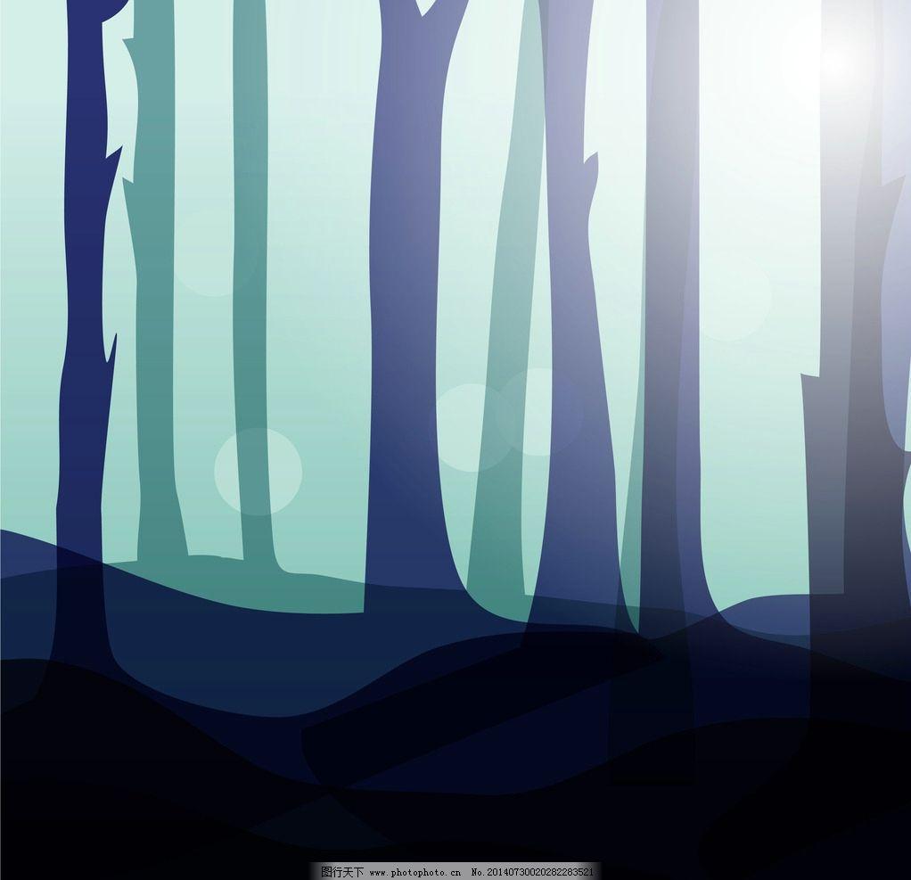 矢量树木剪影背景图片