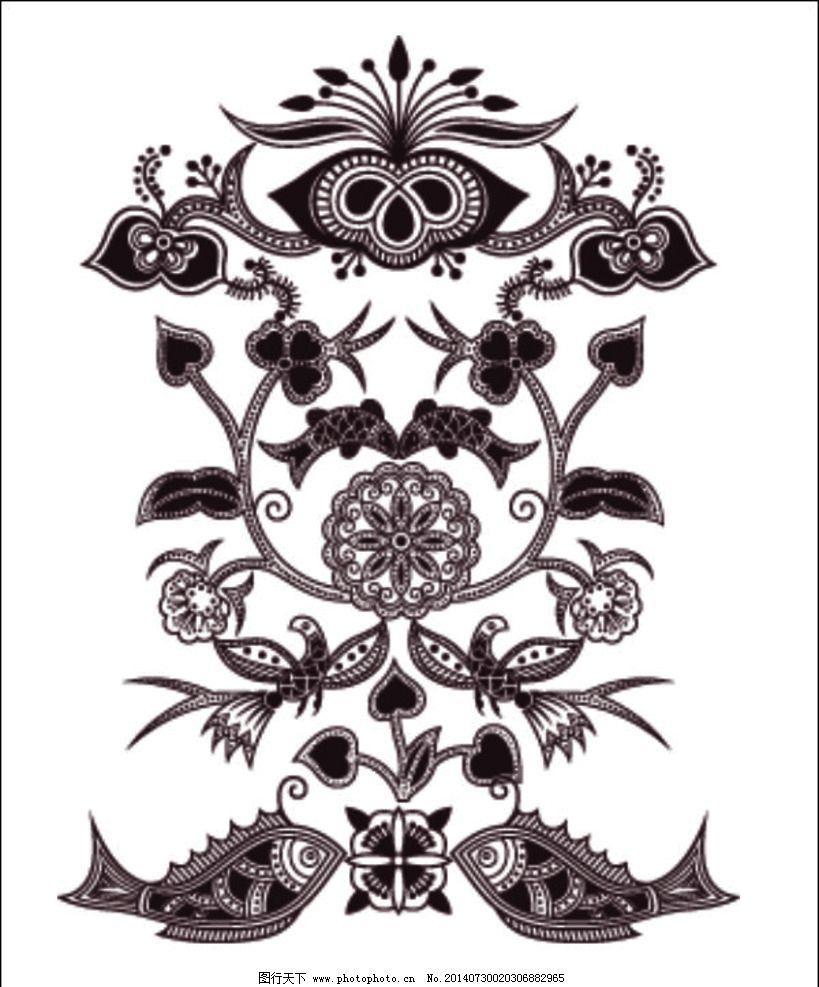 花纹花边图片 花纹花边 欧式 古典 花纹 花边 动物 图形 鱼 花朵 花卉