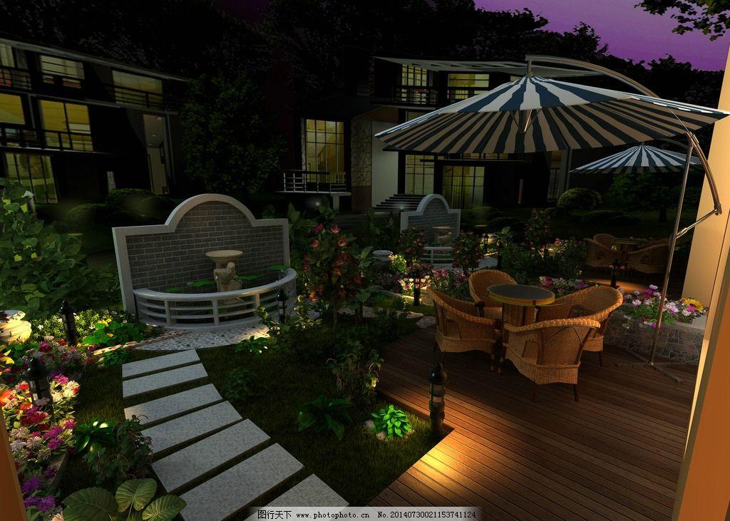 内廷 花园 内庭 欧式 夜景        室外 3d设计 设计 300dpi jpg