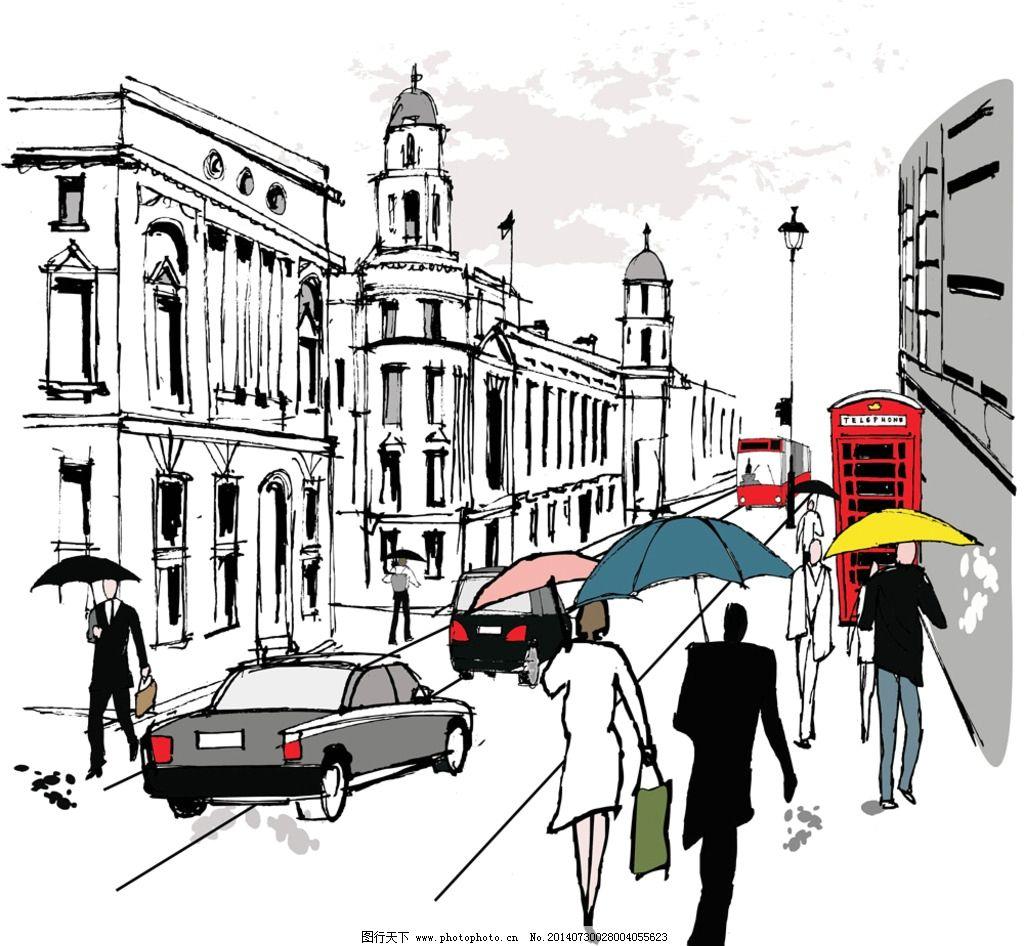 手绘建筑 都市 城市 国外建筑 楼房 行人 人物 素描 速写 建筑写生