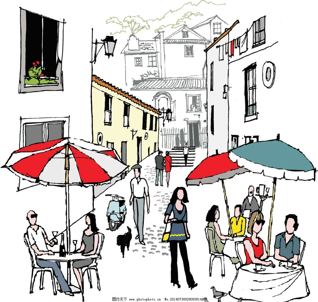 手绘建筑 都市 城市 国外建筑 行人 素描 速写 建筑写生 线描 建筑