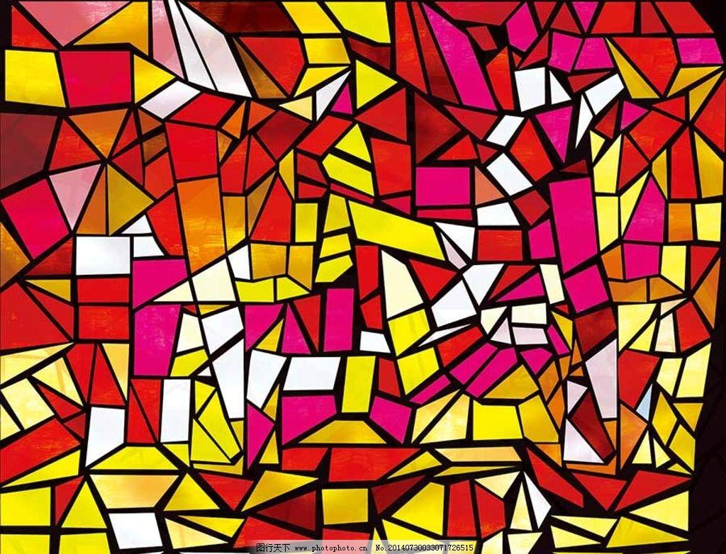 玻璃贴图 彩色玻璃画 教堂 宗教 彩色 窗户 美术 艺术 信徒 几何纹
