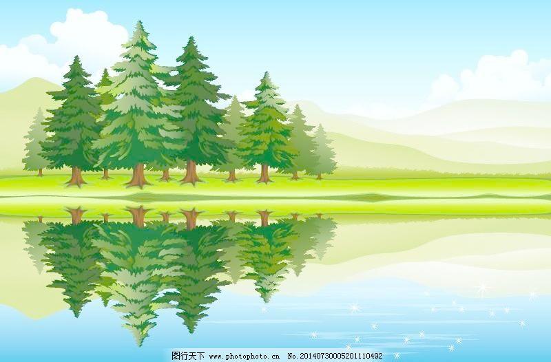 风景园林 湖泊 森林 森林 湖泊 风景园林 矢量图 花纹花边
