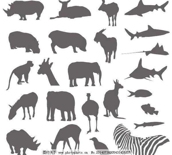 各种陆地和海洋动物的黑白剪影矢量素材