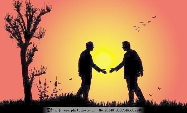 两人友好的握手剪影矢量素材,两人友好的握手