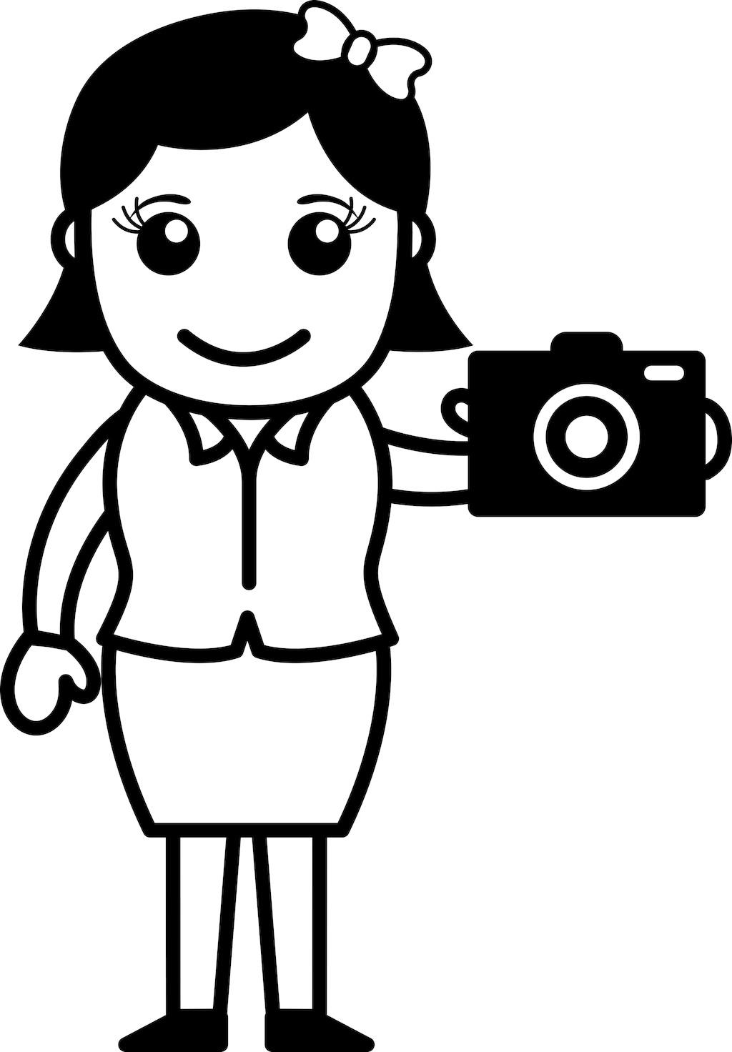 数码相机-办公人物插画矢量