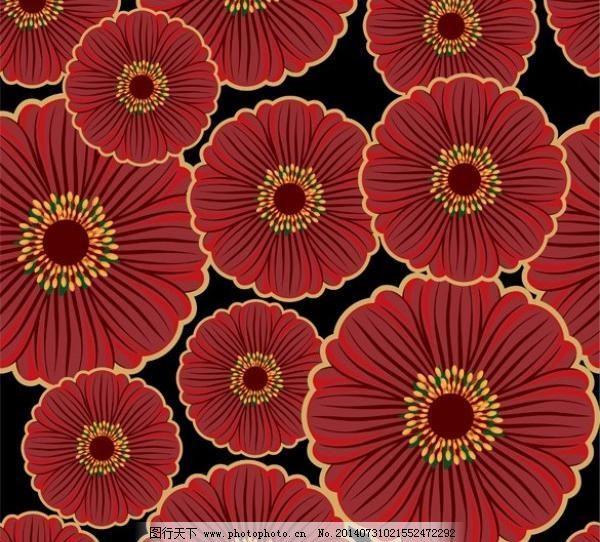 深红色的花的无缝花纹背景矢量