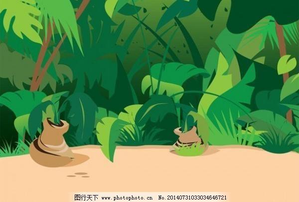 热带雨林植物矢量背景