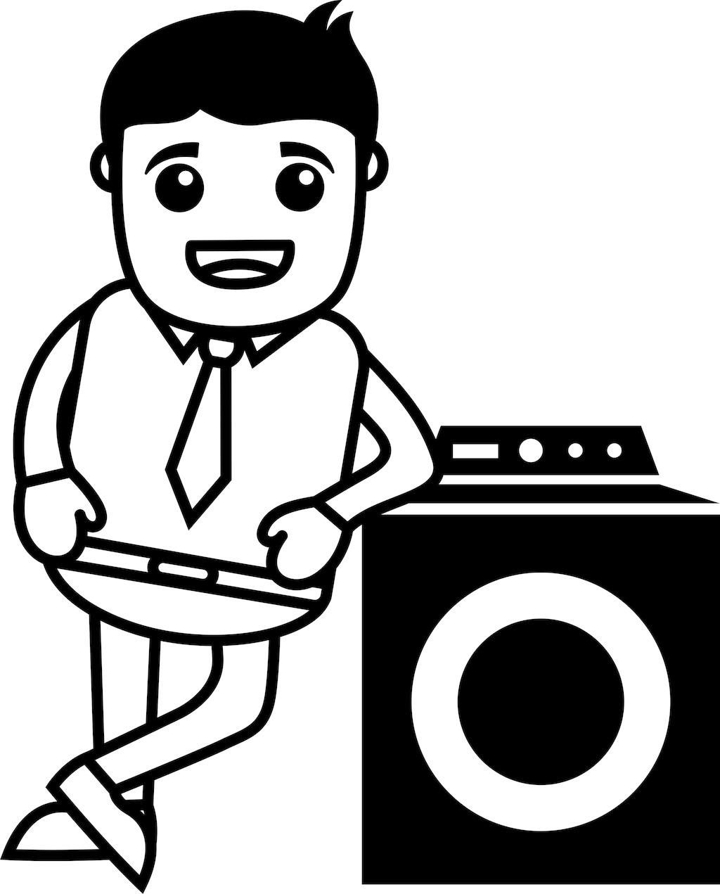 男人站在洗衣机-矢量插画